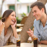 Couple dating and flirting in a restaurant
